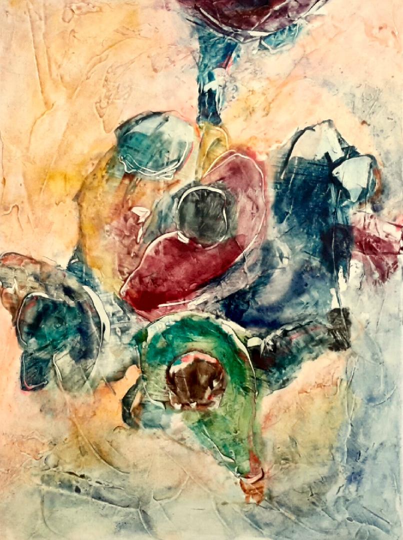 RENCONTRES_4-technique_mixte_30x40 pigments/huile 220 euros