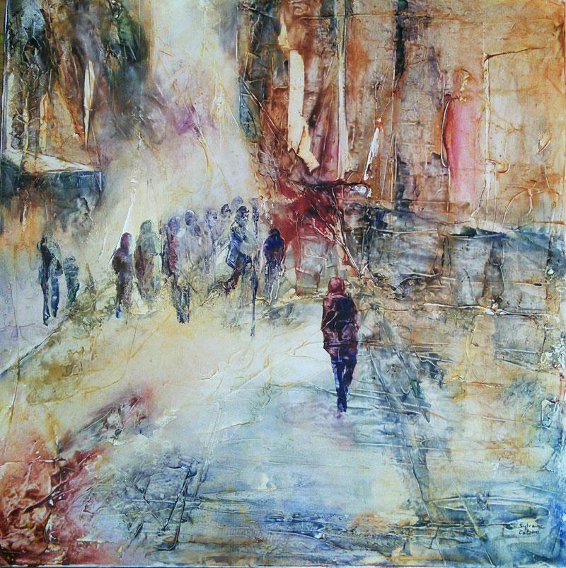 Tableaux contemporains de sylvaine catoire peintre rennes - Tableaux tryptiques contemporains ...